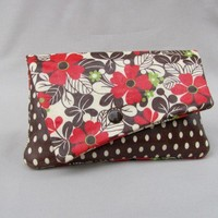 Purse clutch wallet floral red brown polka dots