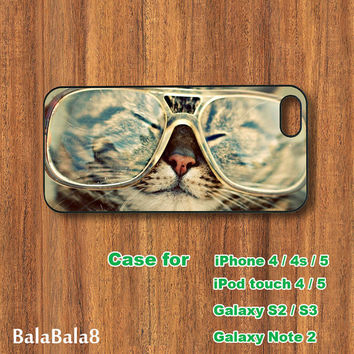 Glasses cats - iPhone  4 case, iphone 5 Case, iPod 4 case,  iPod 5 case,  Samsung Galaxy S3, samsung Galaxy S4 case, samsung Galaxy note 2