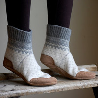 Women Slipper Socks, Wool House Slippers, women size 8, 9.5, wide width, Some Day I'll Be Old Fashioned