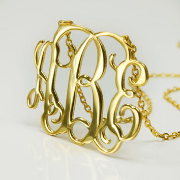"1.25"" inch Gold Monogram Necklace - 925 Sterling Silver - 18k gold plated FREE SHIPPING USA !!!"