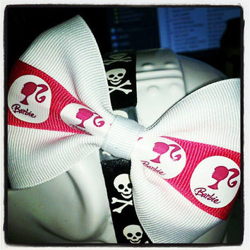 Barbie Girl: Hot Pink and White Barbie Inspired Hair Bow