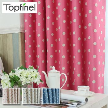 Top Finel Kids Polka Dots Blackout Window Curtain Panel for Children Room Baby Room Modern Living Room Japanese Curtains Fabric