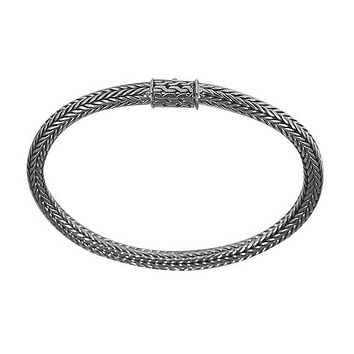 """AB-6081-S-8.5"""" Sterling Silver Bracelet With Plain Silver"""