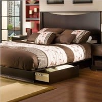 South Shore Step One Collection Full / Queen 54/60-Inch Storage Platform Bed, Chocolate