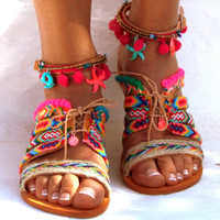"Friendships  Boho Sandals, ""JOSEFINE"",  Pom pom summer shoes,  Handmade Sandals, Greek Sandals, hippie sandals, Bohemian sandals"