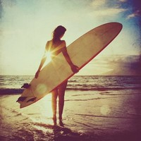 Surfer girl photo - sunset, surf, beach, summer, surfboard, retro home decor, orange blue 5x5 fine art print.
