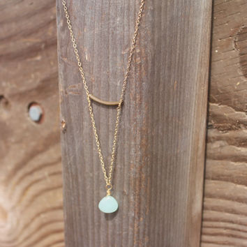 Geometric Gold + Brass Chalcedony Crystal Minimalist Necklace // Crystal Statement Layered Necklace // Boho Jewelry - Bohemian Jewelry