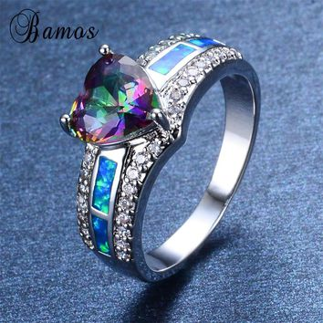 Bamos 2017 Romantic Female Rainbow Heart Ring Fashion 925 Sterling Silver Filled Fire Opal Ring Vintage Wedding Rings For Women
