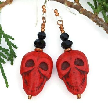 Red Black Halloween Skull Earrings Handmade Day of the Dead Jewelry