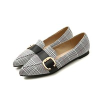 Pointed Toe Plaid Flats Shoes for Women 9464