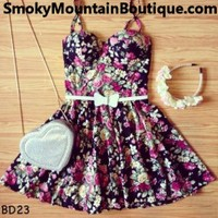 Love Mist Floral Multi Color Bustier Dress with Adjustable Straps - Size XS/S/M - Smoky Mountain Boutique
