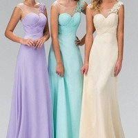 Sheer neckline Long chiffon Bridesmaid dress 103-gl1332/