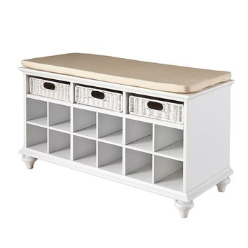 White Shoe Rack Closet Bedroom Entryway Storage Bench
