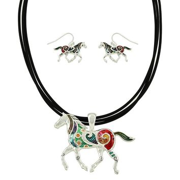 Horse of Many Colors Necklace and Earring Set