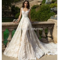 Robe De Mariee 2017 New Champagne Mermaid Wedding Dresses with Detachable Train Bridal Gowns Plus Size 2017 Wedding Dress