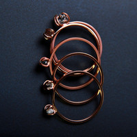 18k rose gold stacking rings with raw diamond, Herkimer diamond and sapphire crystal