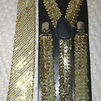 Gold Sequin Pre-Tied Neck tie & Adjustable Gold Sequin Suspenders Set-New!