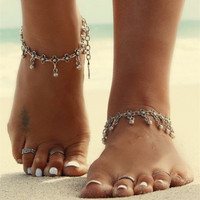 1Pc Bohemian Boho Turkish Silver Antalya Flower Ball tassel Anklet Bracelet Gypsy Foot Sandal Beach Ankle Chain S078