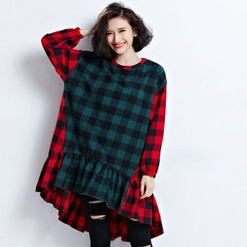 ESBU3C New Spring Women Dress Cotton Fashion Plaid Long Sleeves Pullover Patchwork Red Green Big Size O-Neck Loos Long Tees&Tops Autumn