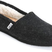 Toms Classics Black Woolen Womens Shoes