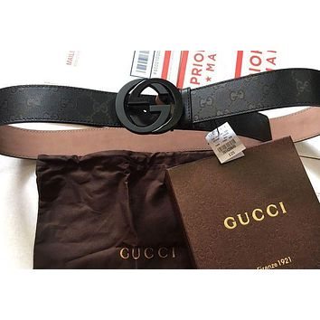 NWT Gucci Imprime Black Shiny GG Belt 223891 FU49X