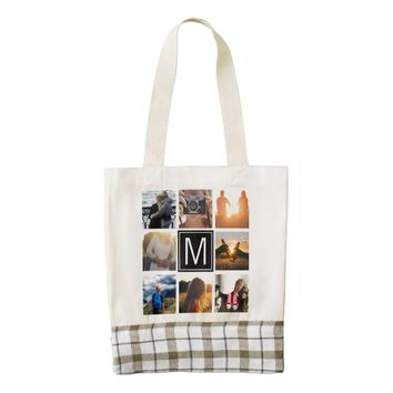 Monogram 8 Frame NGL Zazzle HEART Tote Bag