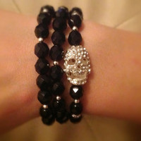 Black and Silver Rhinestone Skull Stretch Bracelets - Set of 3 - Goth Rock Punk