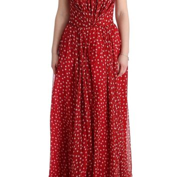 Red White Polka Dotted Silk Dress