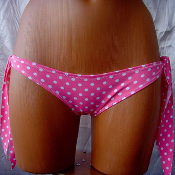 CUSTOM MaDE Coral Neon Pink White Polka Dots Women's Swimsuit bikini by Cvetinka