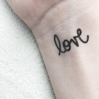 love temporary tattoo / valentine gift fake tattoo / hand written typography tattoo / wrist tattoo body art / happytatts etsy