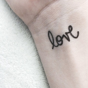 valentine love temporary tattoo simple black script typography tattoo fake body art small dainty letterhappy etsy
