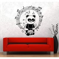 Wall Vinyl Sticker Music Rhythm Panda Bear Drums Melody Kids Unique Gift (ed466)
