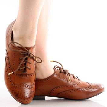 Oxford-88 Lace Up Oxford Brogue Flats