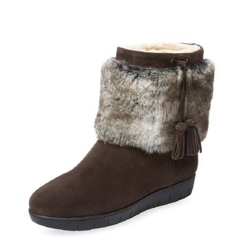 Aquatalia Women's Brown Suede Faux-Fur Lined Boots