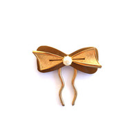 Gold Hair Bow Hair Fork Gold-tone Pearl Hair Pin Wedding Hair Accessories