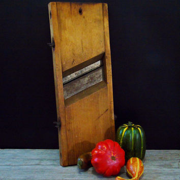 Antique Primitive Wood Slaw Board Cabbage Cutter Sauerkraut Shredder Primitive Kitchen Farmhouse Decor