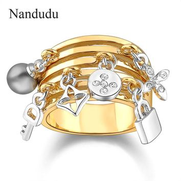 Nandudu Key Ring pear Lock adorns antique  ring female women engagement wedding party Jewelry Gift R317