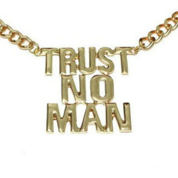 Gold trust no man Necklace Chunky Curb Chain Necklace best friend sisters Bridesmaids Graduation Birthday Gift Trending Accessories