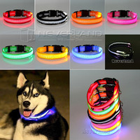 Glow LED Flashing Light Up Nylon Collar for Dog or Cat