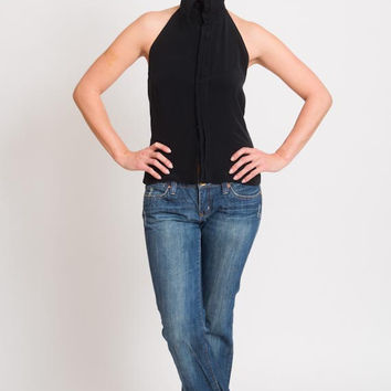 1990's Black Blouse - Vintage 90's Sleeveless Pleated Asymmetry Minimalistic Top Backless Short Preppy Shirt Size S M