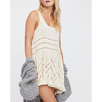 free people - voile and lace trapeze slip dress - tea combo