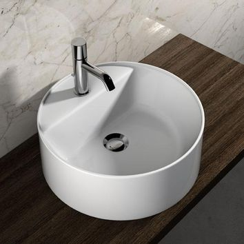 Gio White Round Ceramic Vessel Sink Bowl Above Counter Sink Lavatory Washbasin