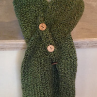 Olive Green Knitted Winter Scarf