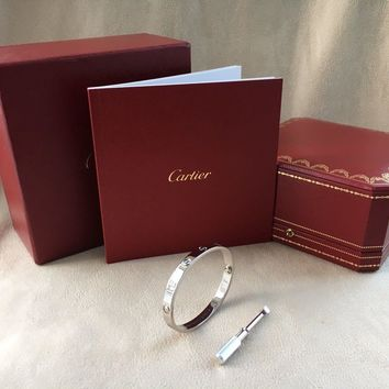 One-nice? Cartier Love Bracelet White Gold Size 16 (New Screw System)