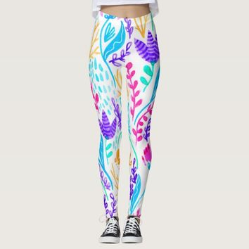 Cute colorful watercolor flowers leggings