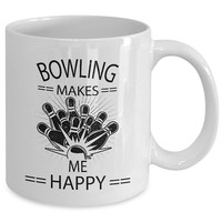 Bowling Mug - Gift Cup For Bowlers, Bowling Coaches, Bowling Enthusiasts, Bowling Leagues, Bowling Theme, Coffee Cup 11oz White Ceramic