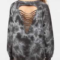 Doe Raglan Tear Back Tie Dye Sweatshirt