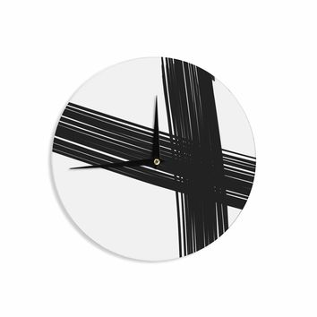 Cross Brush Strokes - Black White Abstract Watercolor Wall Clock