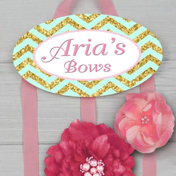 HAIR BOW HOLDER - Personalized Mint Gold Pink Chevron HairBow Holder Organizer Girls Personal Hair Bow and Clip Hanger HB0173
