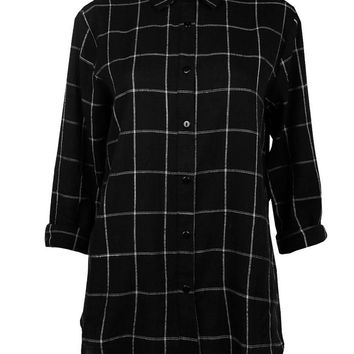 Peyton Back Trim Checked Shirt | Boohoo
